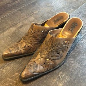 Carlos By CS Rodeo gorgeous Tool Leather Mules 6.5